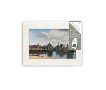Passe-partout , S ,18 x 12.8 cm , Gezicht op Delft
