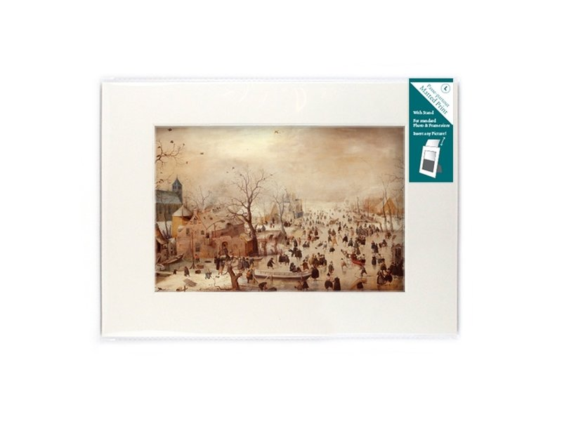 Matted prints  with reproduction, L, Winter landscape, Avercamp