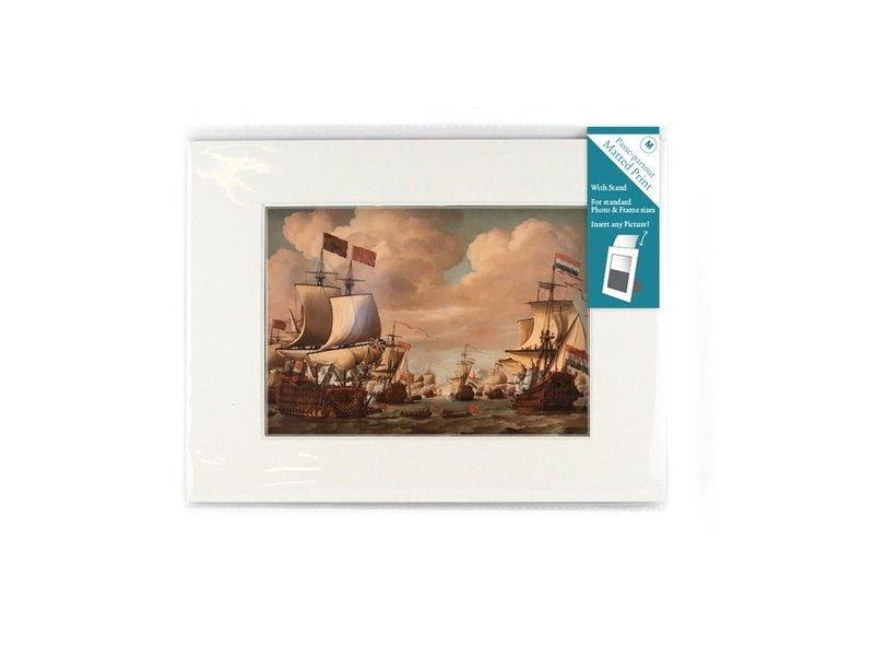 Passe-Partout mit Reproduktion, L, Ships Prins/Gouden Leeuw, vd Velde