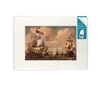 Matted prints with reproduction, L, Ships at sea, Van de Velde