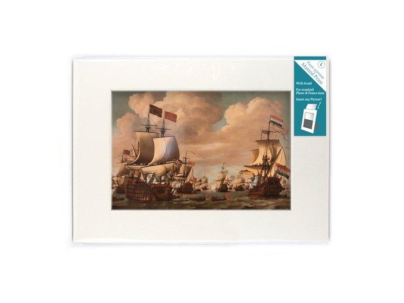 Passe-Partout mit Reproduktion, L, Schiffe auf See, Van de Velde