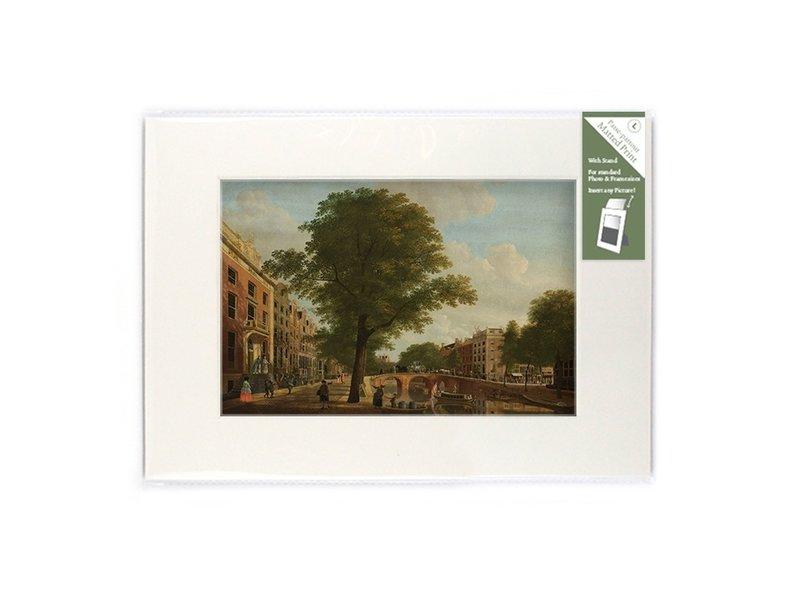 Passe-partout met reproductie, L, Zicht op de Herengracht, Keun