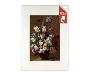 Passe-Partout mit Reproduktion, L, Stillleben mit Blumen, Bollongier