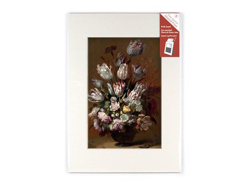 Passe-partout avec reproduction, L, Nature morte aux fleurs, Bollongier