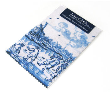 Paño de lente, azul de Delft, molino de viento con patinadores