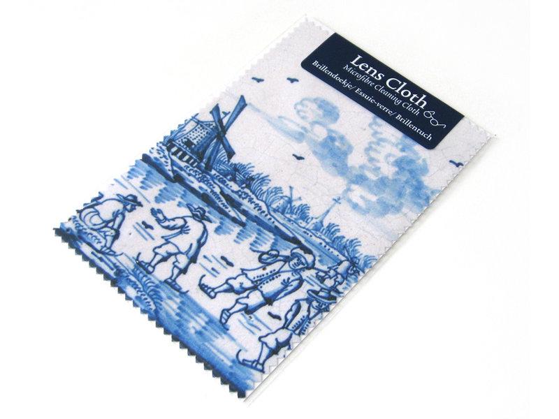 Linsentuch, Delfter Blau, Windmühle mit Skatern