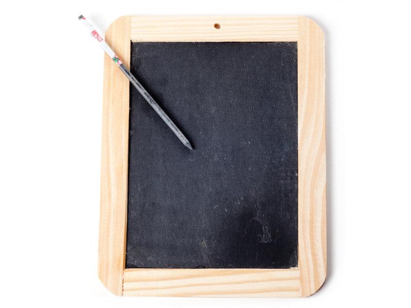 Schiefer mit Bleistift schreiben