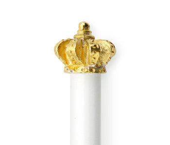 Lápiz HB blanco, corona de oro