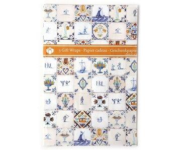 Papel de regalo, azulejos policromados de Delft