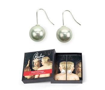 Parel oorbellen, zilveren hangers, Rubens