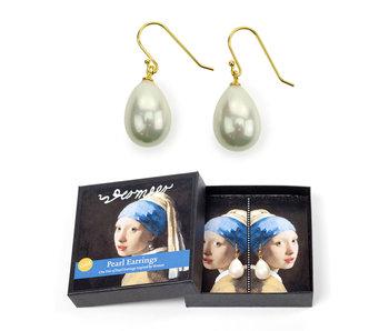 Parel oorbellen verguld, Meisje met de parel, Vermeer