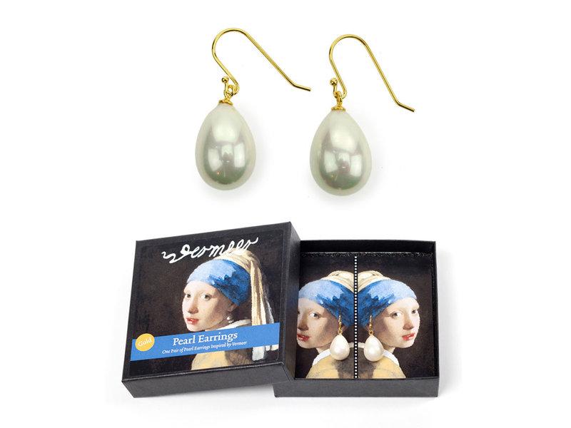 Boucles d'oreilles perles plaqué or, Jeune fille à la perle, Vermeer