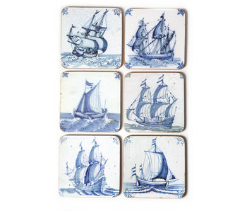 Coasterset of 6, Delft Blue Tiles - Ships