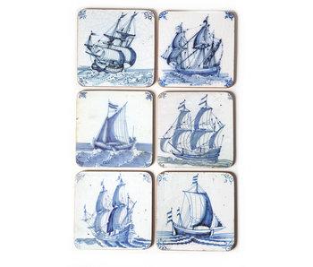 Dessous de verre, tuiles bleues de Delft, Navires