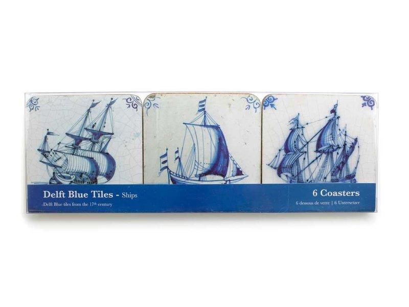 Posavasos, azulejos azules de Delft Barcos