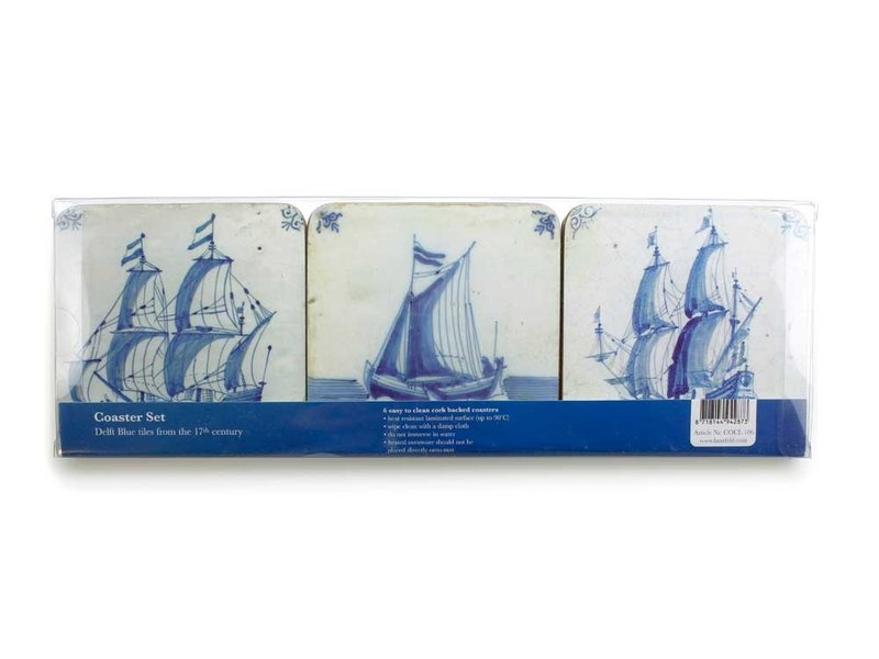 Coasters W, Delft Blue Tiles - Ships