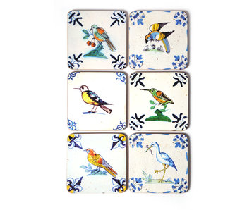 Coasterset of 6, Delft Tiles - Birds , Colourful