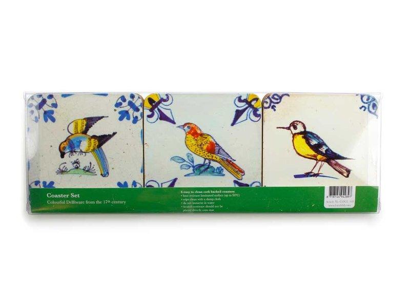 Coasters, Delft Tiles - Birds ,Colourful