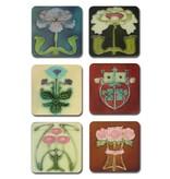 Coasters W, Art Nouveau FlowerTiles from the 1900-1910