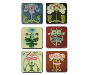 Coasters  Art Nouveau FlowerTiles from the 1900-1910