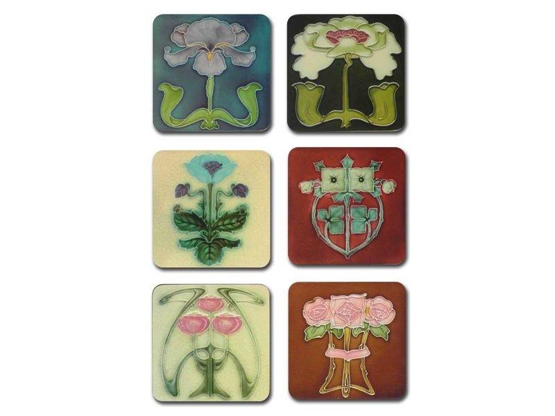 Onderzetters Art Nouveau FlowerTiles uit de jaren 1900-1910