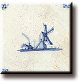 Aimant pour réfrigérateur, carrelage bleu de Delft, moulin à vent 'De Eendracht'