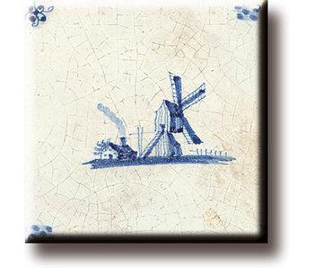 Imán de nevera, azulejo azul de Delft, molino de viento 'De Eendracht'