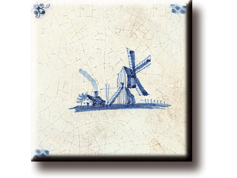 Kühlschrankmagnet, Delfter blaue Fliese, Windmühle 'De Eendracht'