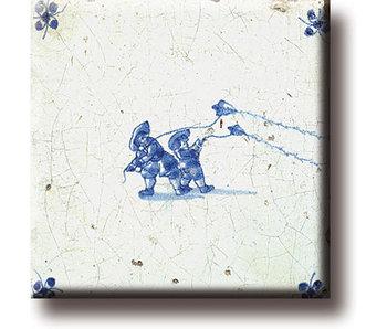 Fridge magnet, Delft blue tile, Children's games: Kiting