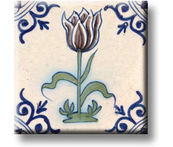 Koelkastmagneet, Delfts blauwe tegel, Aubergine kleurige tulp