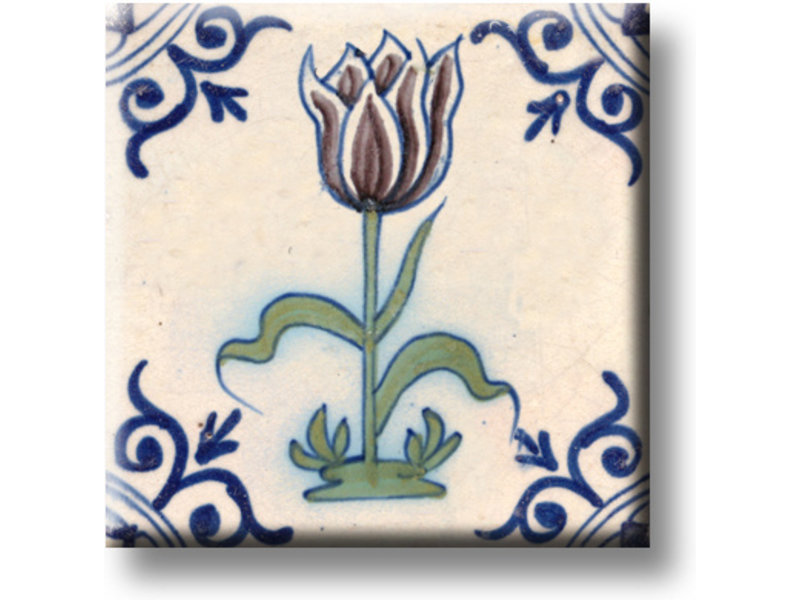 Ijskastmagneet, Delfts blauwe tegel, Aubergine kleurige tulp