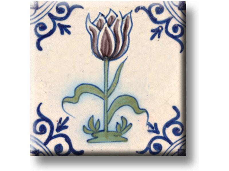 Imán de nevera, azulejo azul de Delft, tulipán color berenjena