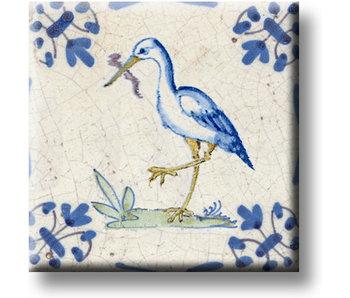 Imán de nevera, azulejo azul de Delft, cigüeña