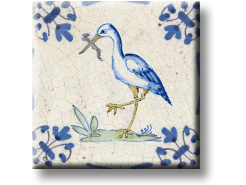 Fridge magnet, Delft blue tile, Stork