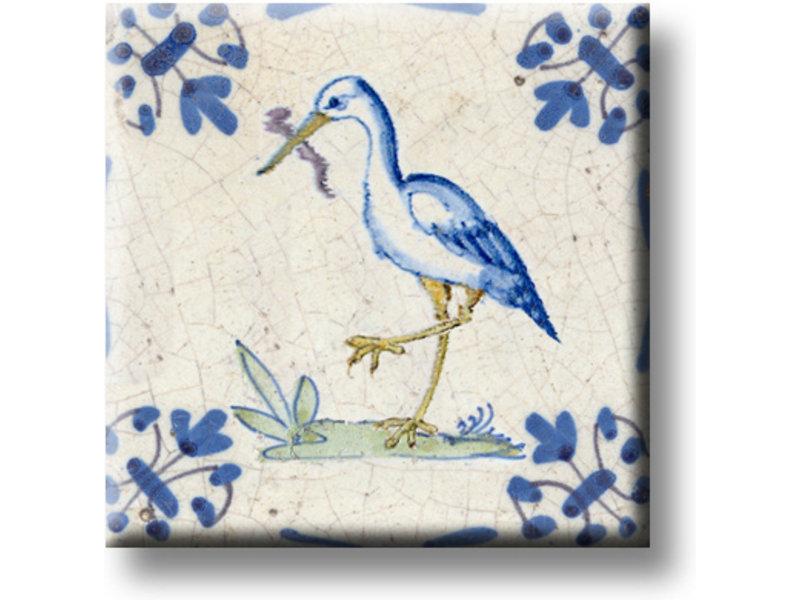 Koelkastmagneet, Delfts blauwe tegel, Ooievaar