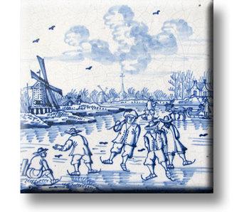Imán de nevera, azulejo azul de Delft, juegos infantiles, diversión en el hielo