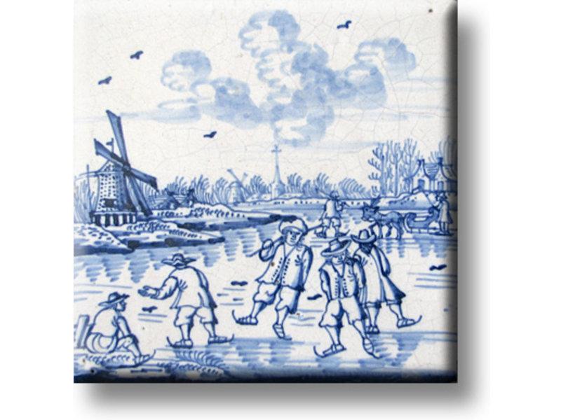 Koelkastmagneet, Delfts blauwe tegel, Kinderspelen, ijspret