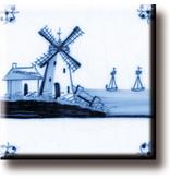 Kühlschrankmagnet, Delfter blaue Fliese, Mühle 'Die drei Schwestern'