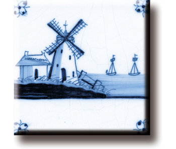 Fridge magnet, Delft blue tile, Mill 'The Three Sisters'