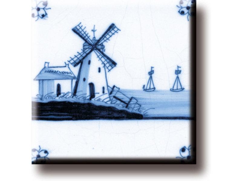 Imán de nevera, azulejo azul de Delft, Mill 'Las tres hermanas'