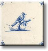 Aimant pour réfrigérateur, carrelage bleu de Delft, oiseau sur une branche