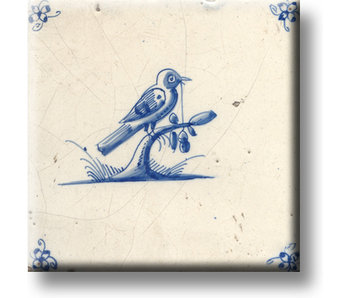 Fridge magnet, Delft blue tile, Bird on a branch