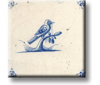 Imán de nevera, azulejo azul de Delft, pájaro en una rama