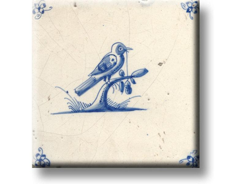 Koelkastmagneet, Delfts blauwe tegel, Vogel op een tak