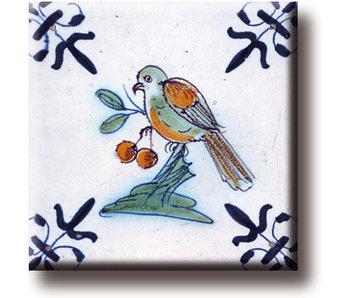 Fridge magnet, Delft blue tile, Bird with berry
