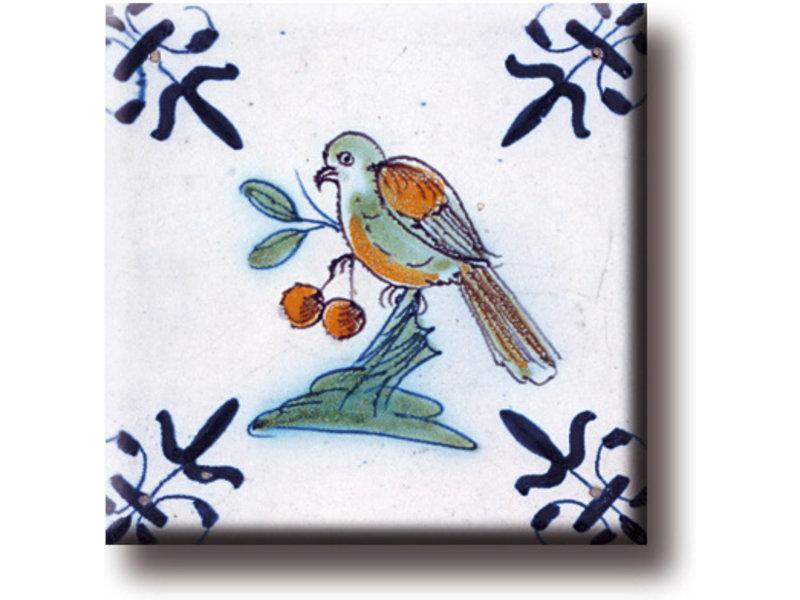 Kühlschrankmagnet, Delfter blaue Fliese, Vogel mit Beere