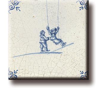 Fridge magnet, Delft blue tile, Children's games, swinging