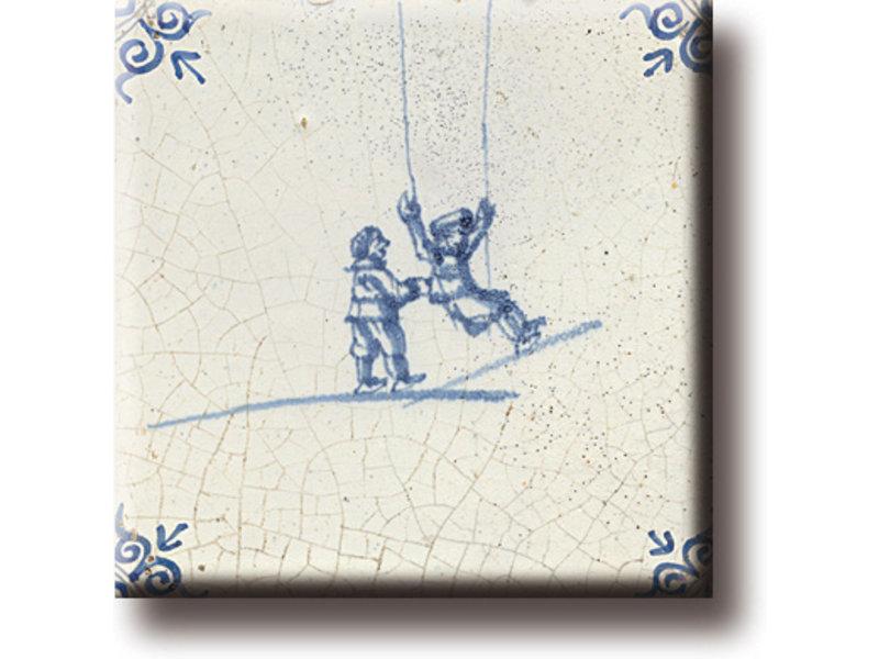 Imán de nevera, azulejo azul de Delft, juegos infantiles, columpios