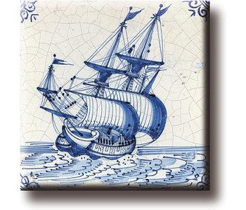 Aimant de réfrigérateur, carrelage bleu de Delft, navire marchand