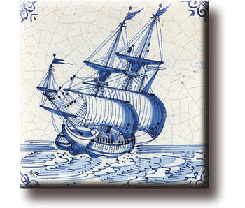 Koelkastmagneet, Delfts blauwe tegel, Koopvaardij schip